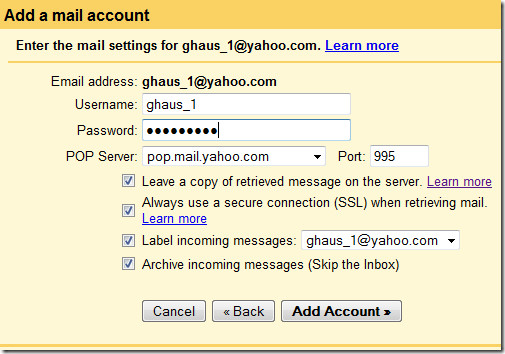 add a mail account in gmail