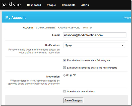 backtype edit account