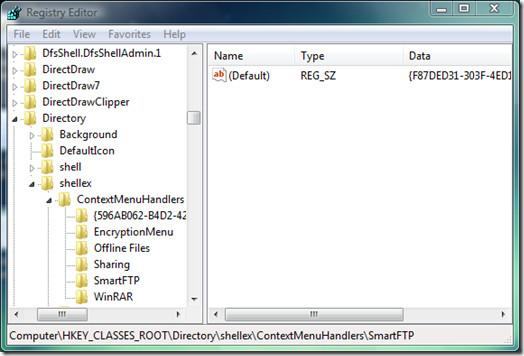 registry editor content menu folder