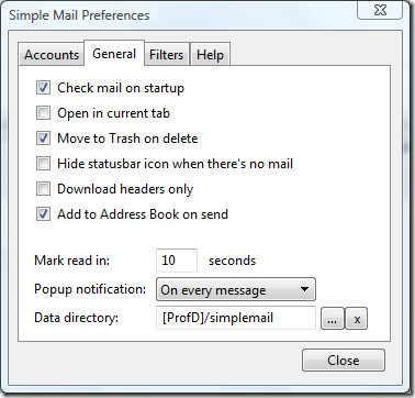simplemail preferences