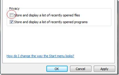 start menu privacy