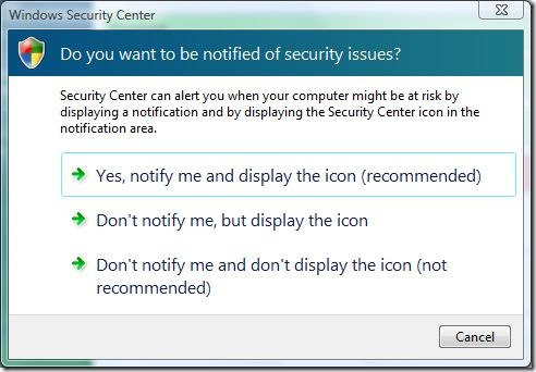 windows security center notify options