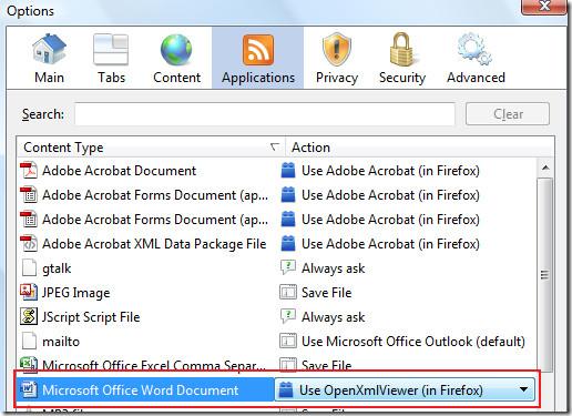 firefox applications options