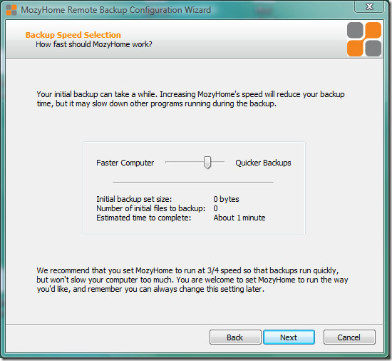 mozy backup speed selection