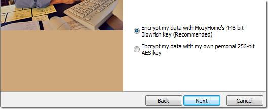 mozy encryption type
