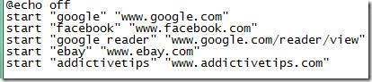 batch file for opening multiple websites