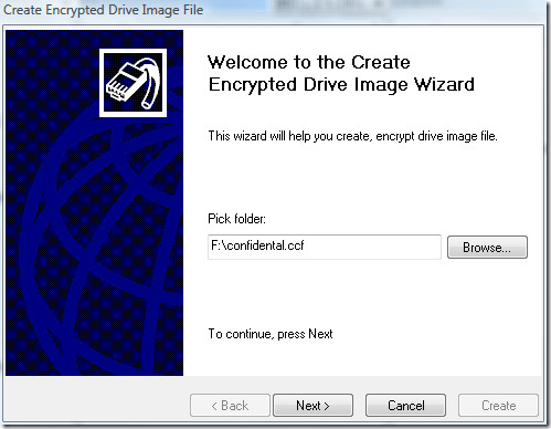 create encrypted drive image file