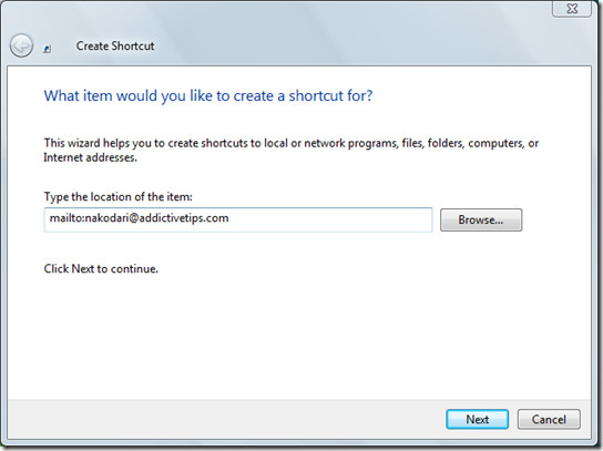 email desktop shortcut