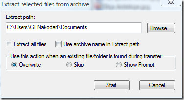 extract selected file