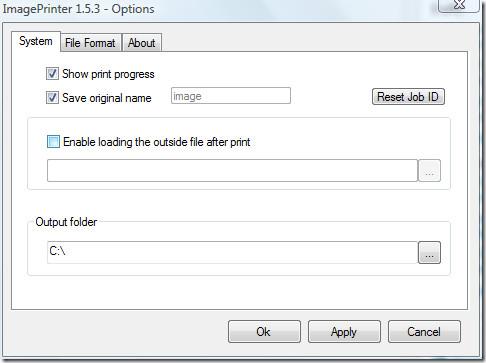 image printer system tab
