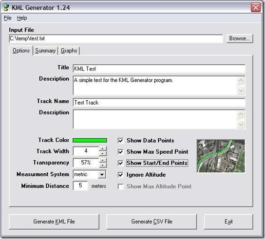 kml generator main window