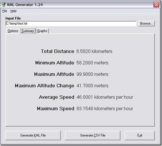 kml generator summary window