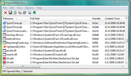 openfiles view window