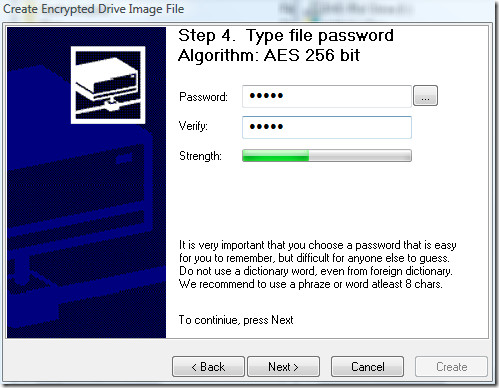 password protect image file