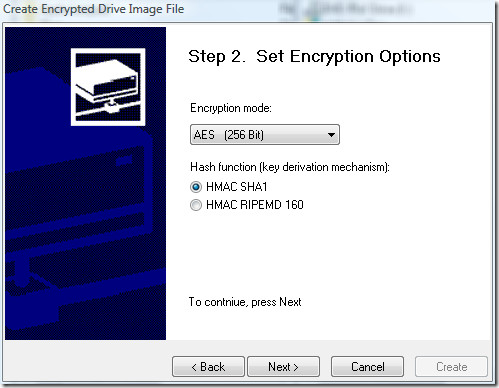 set encyption options
