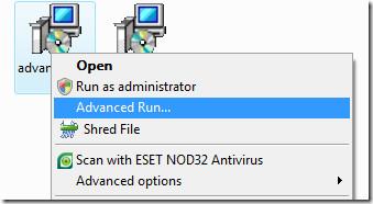 advanced run context menu