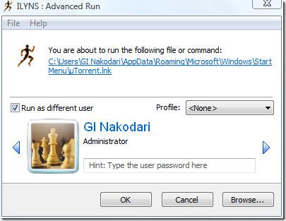 advanced run  - run program under different account