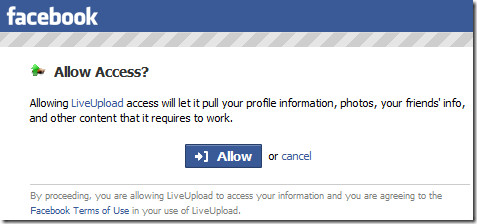 allow access to liveupload to facebook