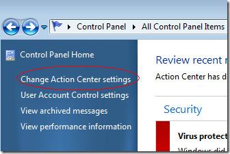 change action center settings