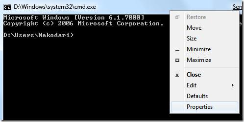 command prompt properties