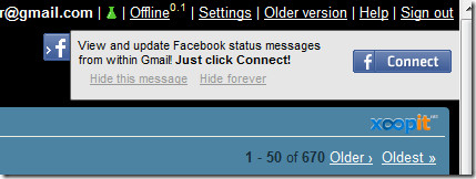 connect to facebook from gmail