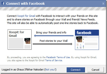 connect with facebook from gmail