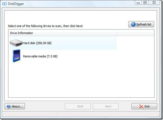 disk digger main window