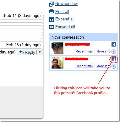 gmail conversation - facebook connect