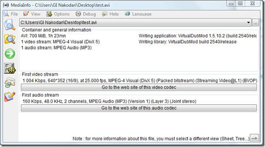 mediainfo - video file details
