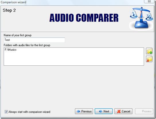 select audio or music folder