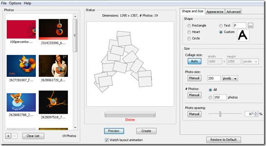 shape collage main window