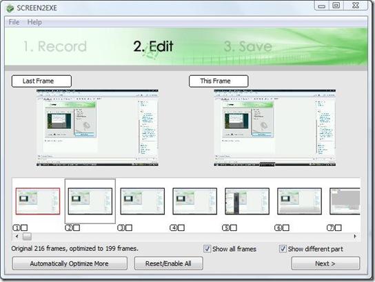 sreen2exe optimizing frames