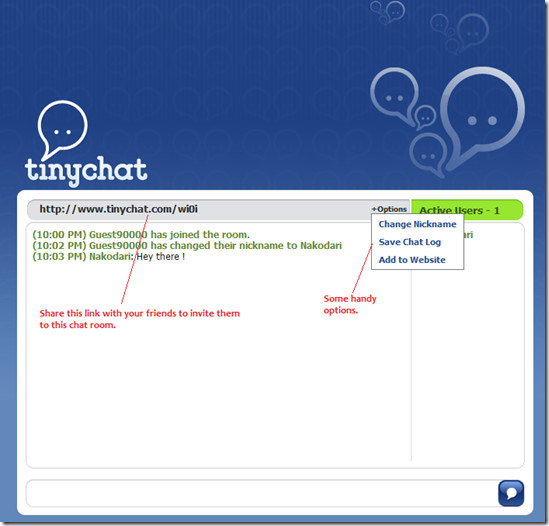 tinychat - personal chat room