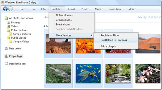 windows live gallery -liveupload to facebook