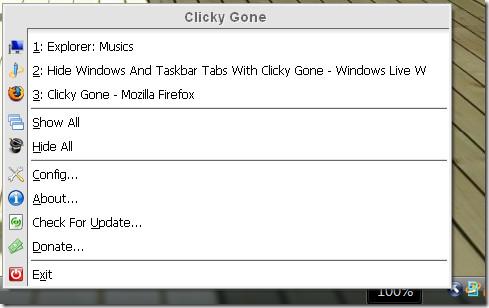 clicky gone system tray menu