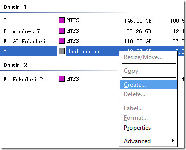 creating new partition