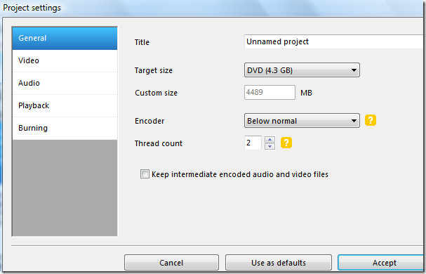 dvd video project settings