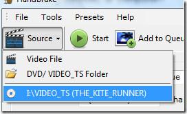 handbrake select DVD video source