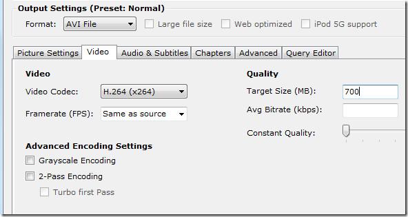 handbrake video settings tab