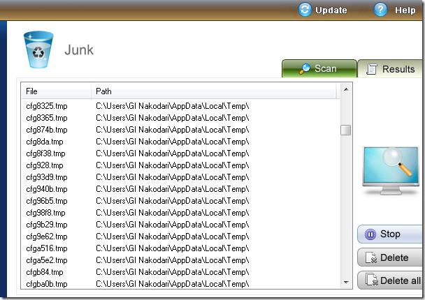 junk temporary files