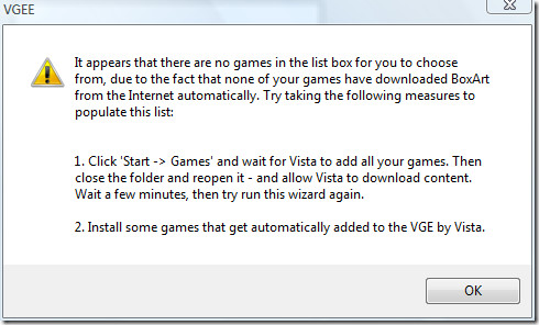 no games in the list message
