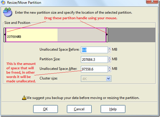 resize or move partition