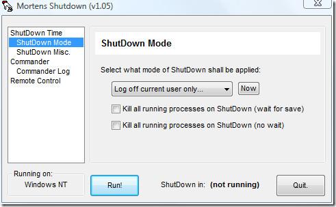 shutdown mode