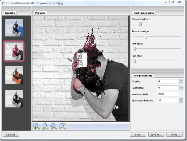 tintii photo filter, applying color effect