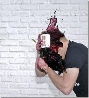 wine on head