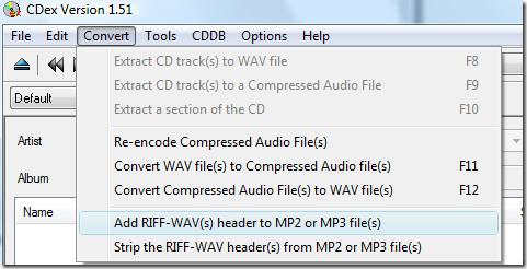 add riff-wav header to mp2 or mp3 files