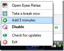Eyes Relax context menu