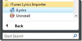 iLyrics programs menu