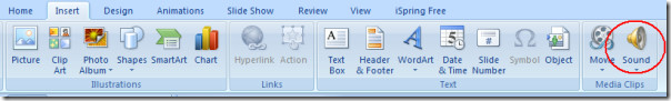 inserting mp3 audio file to powerpoint
