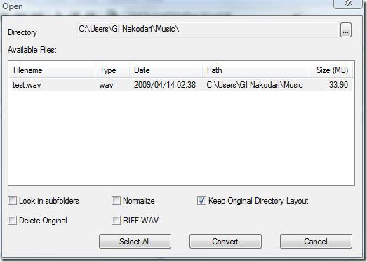 open wav file